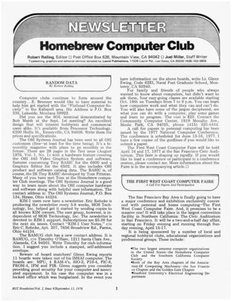 Homebrew Computer Club - Homebrew Computer Club Newsletter, September 1976
