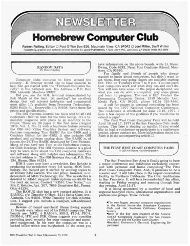 Бюллетень «Клуба самодельных компьютеров», сентябрь 1976