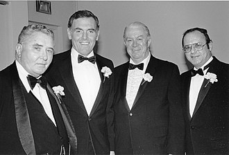Raymond Flynn - Flynn, second from left, next to Boston City Council members Dapper O'Neil and James M. Kelly
