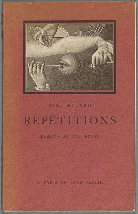 Repetitions, with cover by Max Ernst, 1922 Houghton Typ 915.22.3605 Repetitions, 1922 - cover.jpg