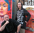 Huang Xiang and William Rock with their Century Mountain portraits of Einstein and Isadora Duncan.jpg