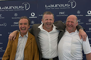Hugo Porta - Porta (left) with Sean Fitzpatrick (centre) and Andrew Hunt at the 2008 Laureus Day at Ham Polo Club, London.