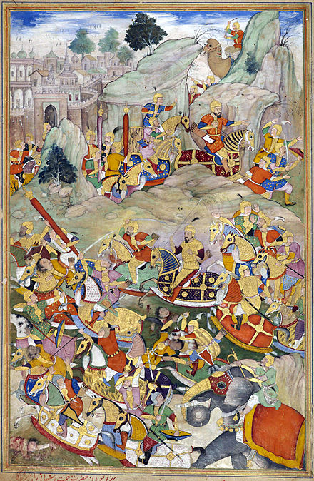 Humayun and his Mughal Army defeats Kamran Mirza in 1553. Humayun finally defeated his rebellious brother Kamran in Kabul in 1553.jpg