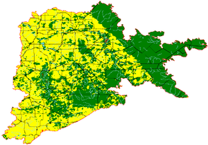 Western Mallee - The Western Mallee subregion, with agricultural areas in yellow, and native vegetation in green