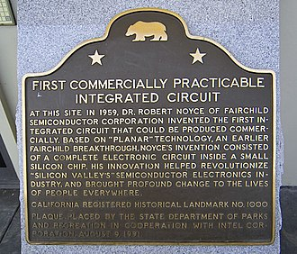 Fairchild Semiconductor - The historic marker at the Fairchild building at which the traitorous eight set up shop and the first commercially practical integrated circuit was invented