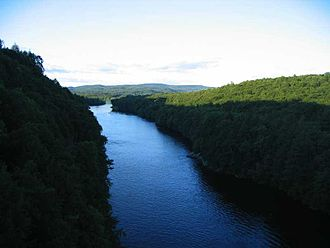 Connecticut River - Looking north from the French King Bridge at the Erving-Gill town line in western Massachusetts