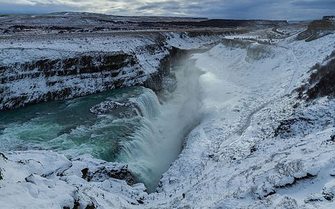 Waterfalls of Gullfoss under the snow in Iceland
