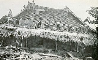 Igbo people - Thatching with palm leaf mats, early 20th century