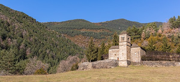 Church of St. Bartholomew and surroundings, Valley of Gavín, Huesca, Spain. The church, located near the Spanish Pyrenees, was built in the 10th century and is of mozarabic style.