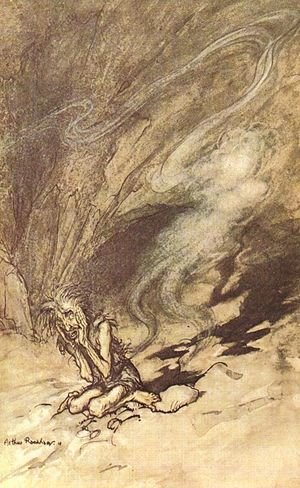 Cloak of invisibility - Alberich puts on the Tarnkappe and vanishes; illustration by Arthur Rackham to Richard Wagner's Das Rheingold