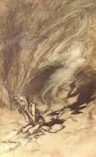 Invisibility - Alberich puts on the Tarnhelm and vanishes; illustration by Arthur Rackham to Richard Wagner's Das Rheingold