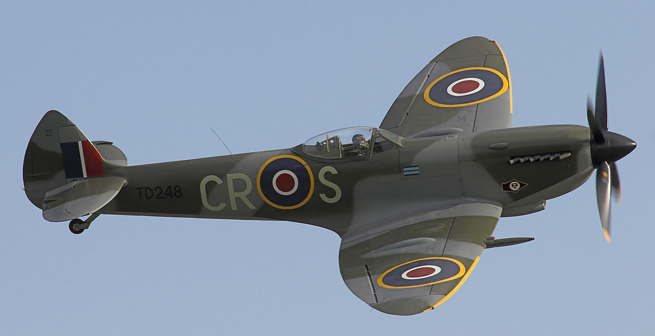 Een Spitfire in Duxford in 2006.