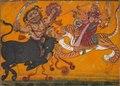 India, Pahari Hills, Nurpur school, early 18th Century - Durga Slaying Mahisha - 1960.51 - Cleveland Museum of Art.tif