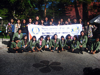 Rotary Youth Exchange - Indonesian Rotary Youth exchange students at orientation. Outbounds are in green blazers and rebounds are in blue.