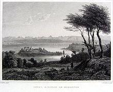 Insel Mainau im Bodensee (Stahlstich, um 1860) (Quelle: Wikimedia)
