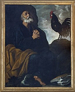 Interior of San Zaccaria (Venice) - choir and altar - ambulatory - St. Peter and the cock by Francesco Rosa