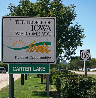 Carter Lake Iowa Welcome Sign courtesy of wikipedia