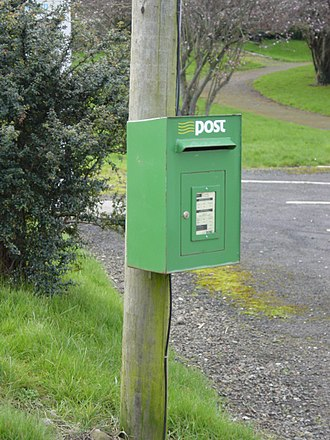 An Post - A small An Post post box attached to a telephone or electricity pole, or street light, is usually called a lamp box