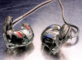 In-ear monitor Audio earpiece commonly used in live music and television