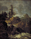 Jacob van Ruisdael - Mountain Landscape with Pine Trees and Waterfall KMSsp570.jpg