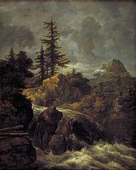 Paysage avec une cascade et un chalet
