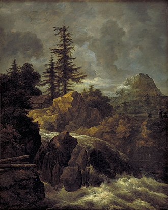Mountain Landscape with a Watermill - Image: Jacob van Ruisdael Mountain Landscape with Pine Trees and Waterfall KM Ssp 570