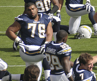 Jamal Williams - Williams during pre-game warmups as a San Diego Charger in 2008 game against Kansas City Chiefs.