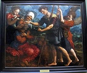 Le jeune Tobie, aidé de l'archange Raphaël, rend la vue à son vieux père Tobit
