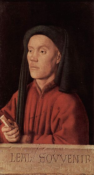 "Gilles Binchois - ""Timotheus"" by Jan van Eyck (1432). According to Erwin Panofsky, this could be the likeness of Gilles Binchois"