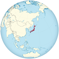 Japan on the globe (de-facto) (Japan centered).svg