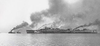Japanese battleship Tosa - Tosa being towed from Nagasaki on 1 August 1922