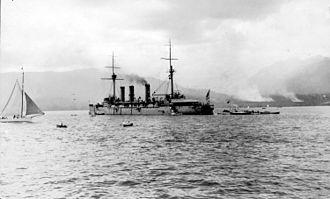 Japanese cruiser Izumo - Izumo at anchor in Vancouver, 1925