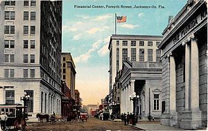 Laura Street - Postcard depicting the Financial Center of Jacksonville, c.1910