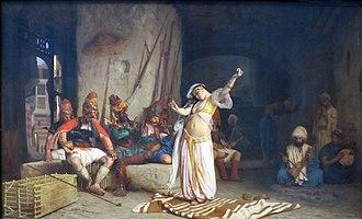 Ghawazi - Depiction of a ghaziya by Jean-Léon Gérôme (L'Almée, 1863).