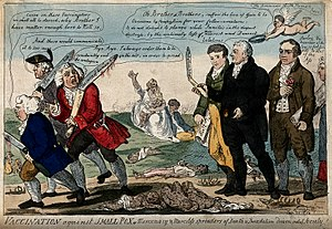 Thomas Dimsdale - Cartoon showing Edward Jenner, Thomas Dimsdale and George Rose seeing off anti-vaccination opponents