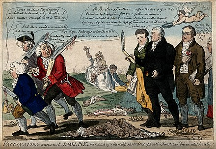 1808 cartoon showing Jenner, Thomas Dimsdale and George Rose seeing off anti-vaccination opponents Jenner and his two colleagues seeing off three anti-vaccinat Wellcome V0011075.jpg