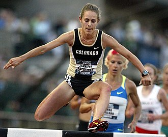 Jennifer Simpson - Jennifer Simpson competing in the steeplechase at the 2008 US Olympic Trials