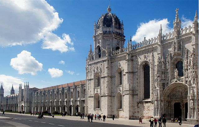 """Jeronimos Monastery, this views shows the main visitors entrance."""