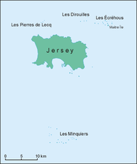 Map of islands of Bailiwick of Jersey