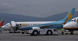 JetLite Boeing 737-800 VT-SJH at Kathmandu airport in 2010.jpg