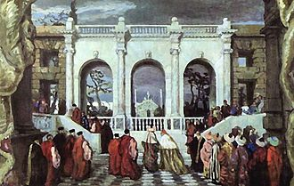 "Jeux - ""Venetian holiday in the 16th century."" Set design by Alexandre Benois for an unrealized production of Jeux"
