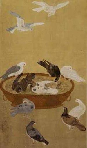 "Jiang Tingxi - ""Eleven Pigeons"" painting by Jiang Tingxi"