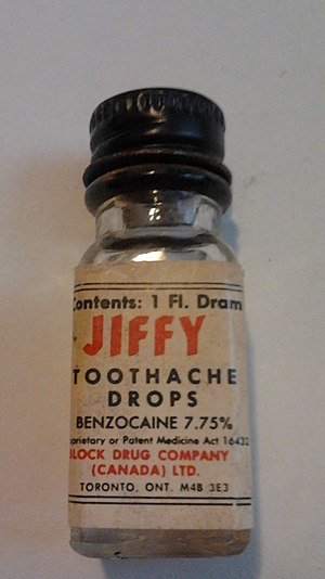 Benzocaine - Jiffy Toothache Drops bottle (7.75% Benzocaine)