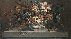 Johann Baptiste Bouttats - Flowers in a porcelain bowl