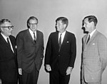 John F. Kennedy with J. Russell Wiggins, John W. Sweeterman, and Phil Graham 1961.jpg