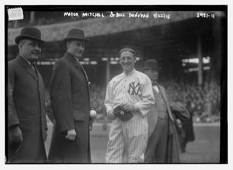 John Purroy Mitchel and Jacob Ruppert and William Edward Donovan at a Yankee game on April 22, 1915
