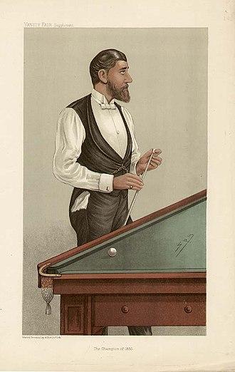"John Roberts Jr. (billiards player) - Caricature of John Roberts Jr., by ""Spy"", Vanity Fair, 4 April 1885."