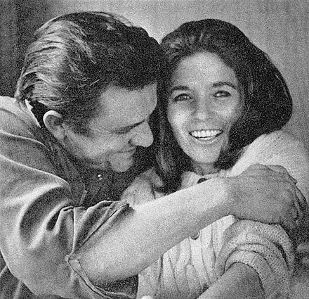 Johnny Cash and his second wife, June Carter, 1969 JohnnyCashJuneCarterCash1969.jpg