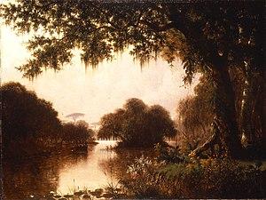 """Evangeline - Joseph Rusling Meeker (American, 1827–1889). The Acadians in the Achafalaya, """"Evangeline,"""" 1871. Oil on canvas. Brooklyn Museum"""