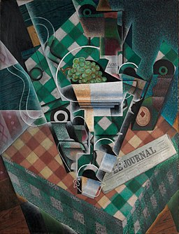 Juan Gris, 1915, Nature morte à la nappe à carreaux (Still Life with Checked Tablecloth), oil on canvas, 116.5 x 89.3 cm